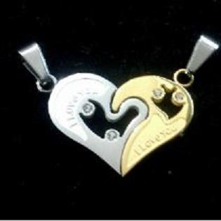 cadenas dije corazon compartir amor, novios, pareja, amigos