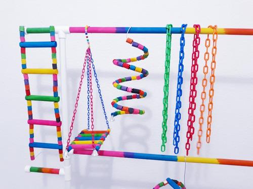 cadenas plásticas, juguete loros juguete jaulas