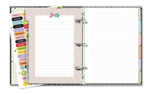 caderno argolado fichário panda- 12 matérias