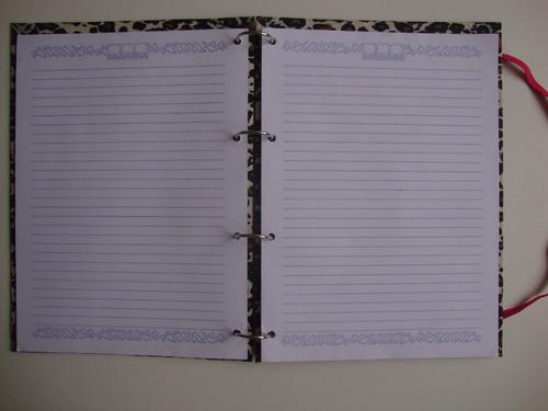 caderno argolado fichário universitário oncinha e/ laranja