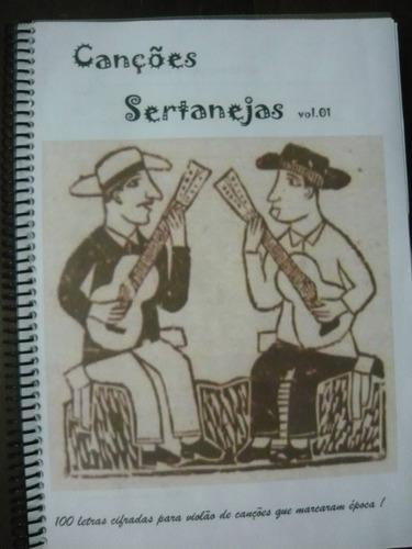 caderno com cifras/letras de canções sertanejas e religiosas