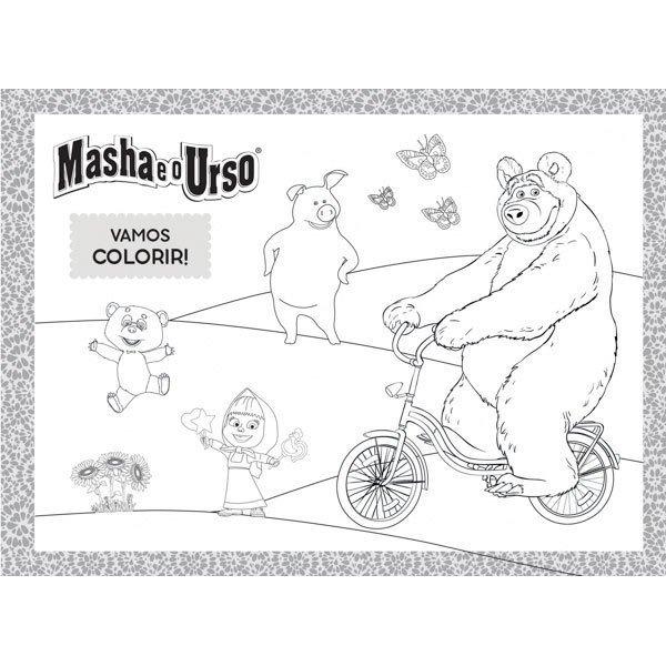 Caderno Desenho Capa Dura Masha E O Urso 96 Fls Pct 5 Unid R