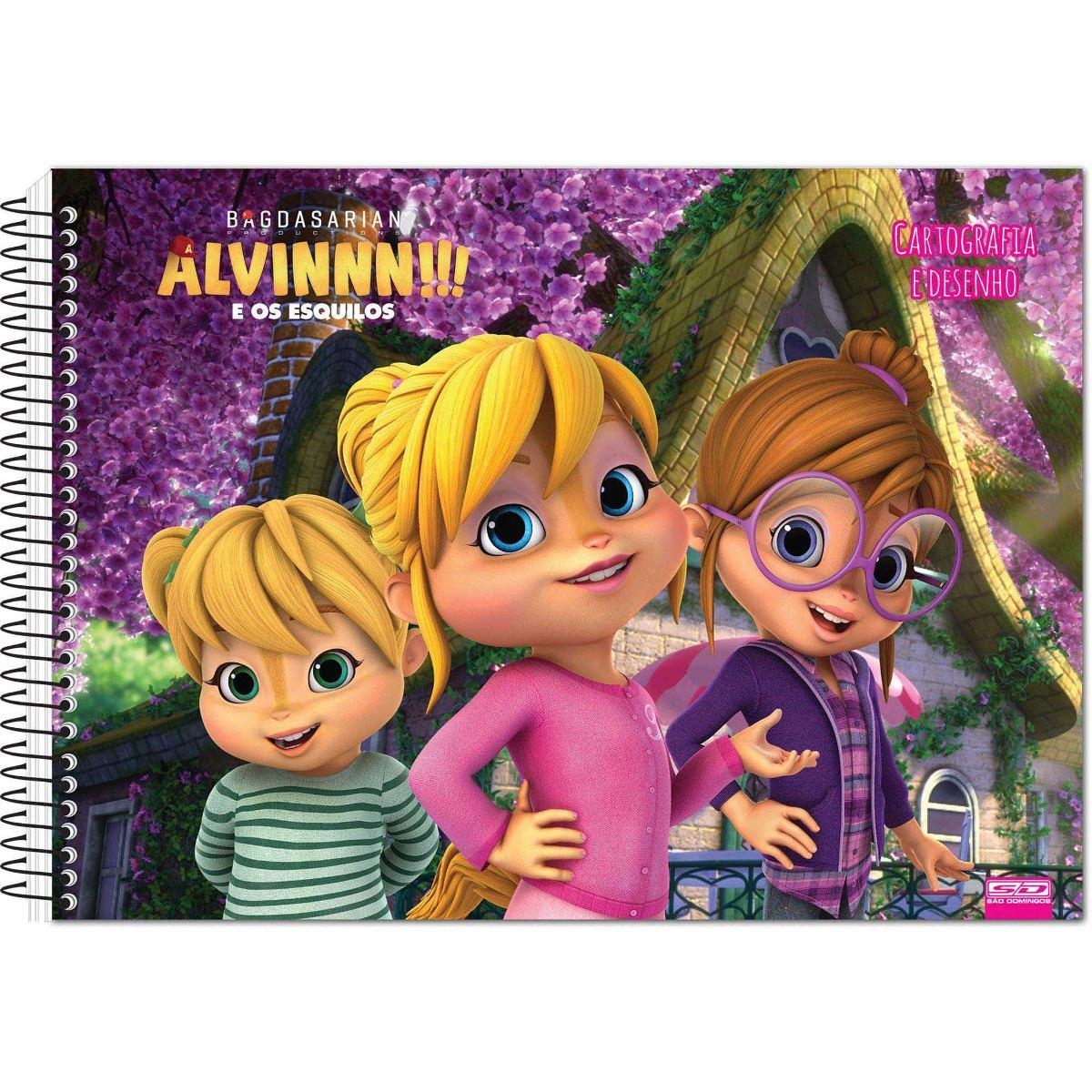 Caderno Desenho Univ Capa Dura Alvin E Os Esquilos 5 Un R 61