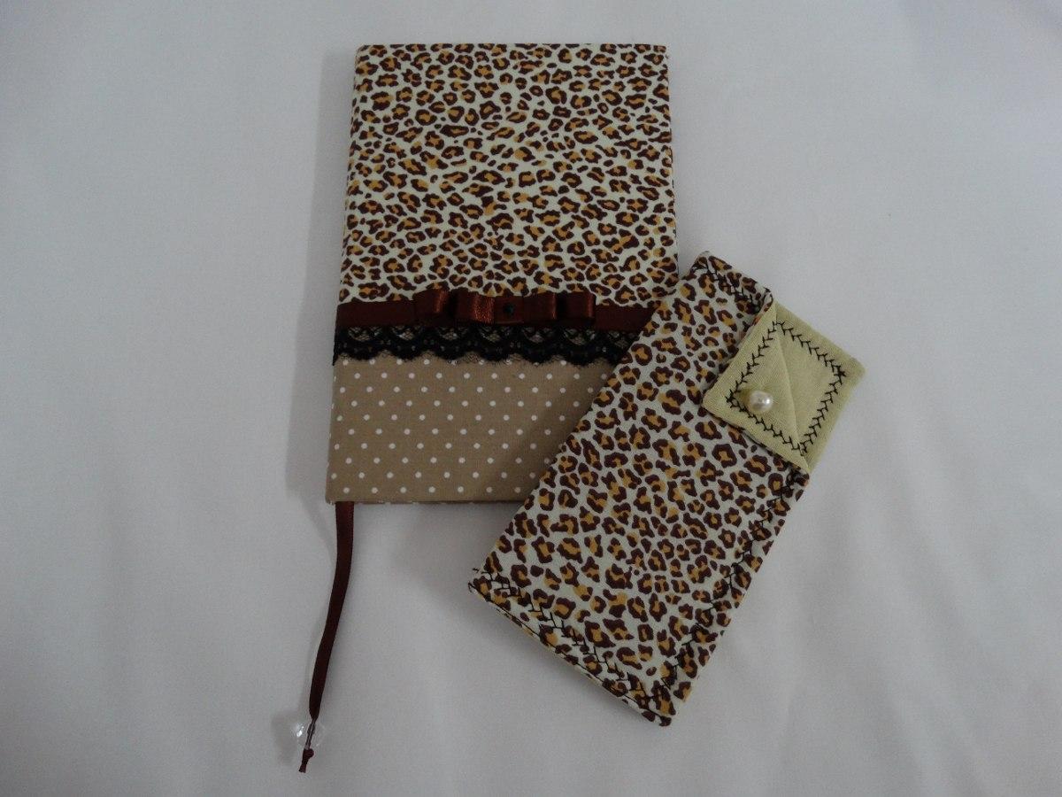 Caderno Encapado Tecido Porta Culos Ou Case Celular R