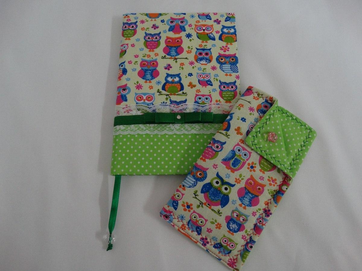 Caderno Encapado Tecido Porta Culos Ou Case Celular