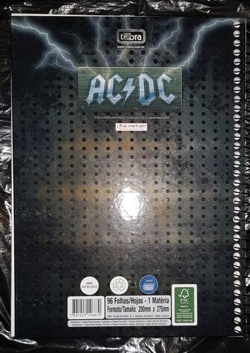 caderno escolar universitario ac/dc 96 folhas