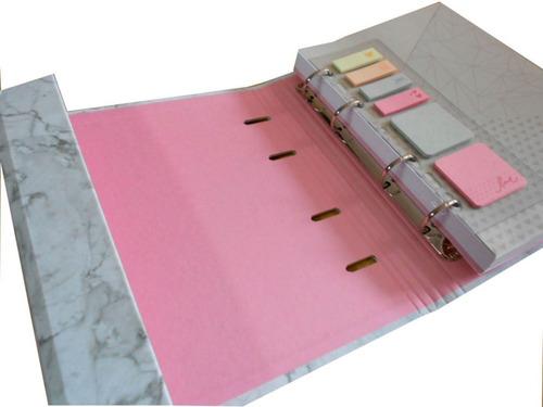 caderno fichário pink stone - imã