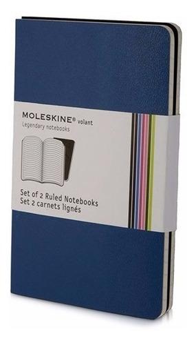 caderno moleskine volant - de bolso - pautado - azul 8589