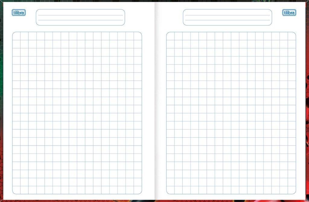 Caderno Quadriculado Brochurao Ladybug 1x1 40fl Capa Dur 10u R
