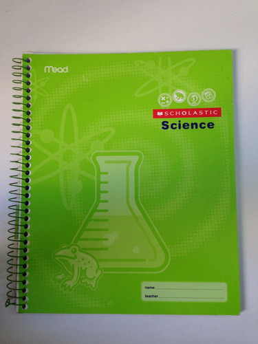 caderno scholastic science 70 folhas. made usa