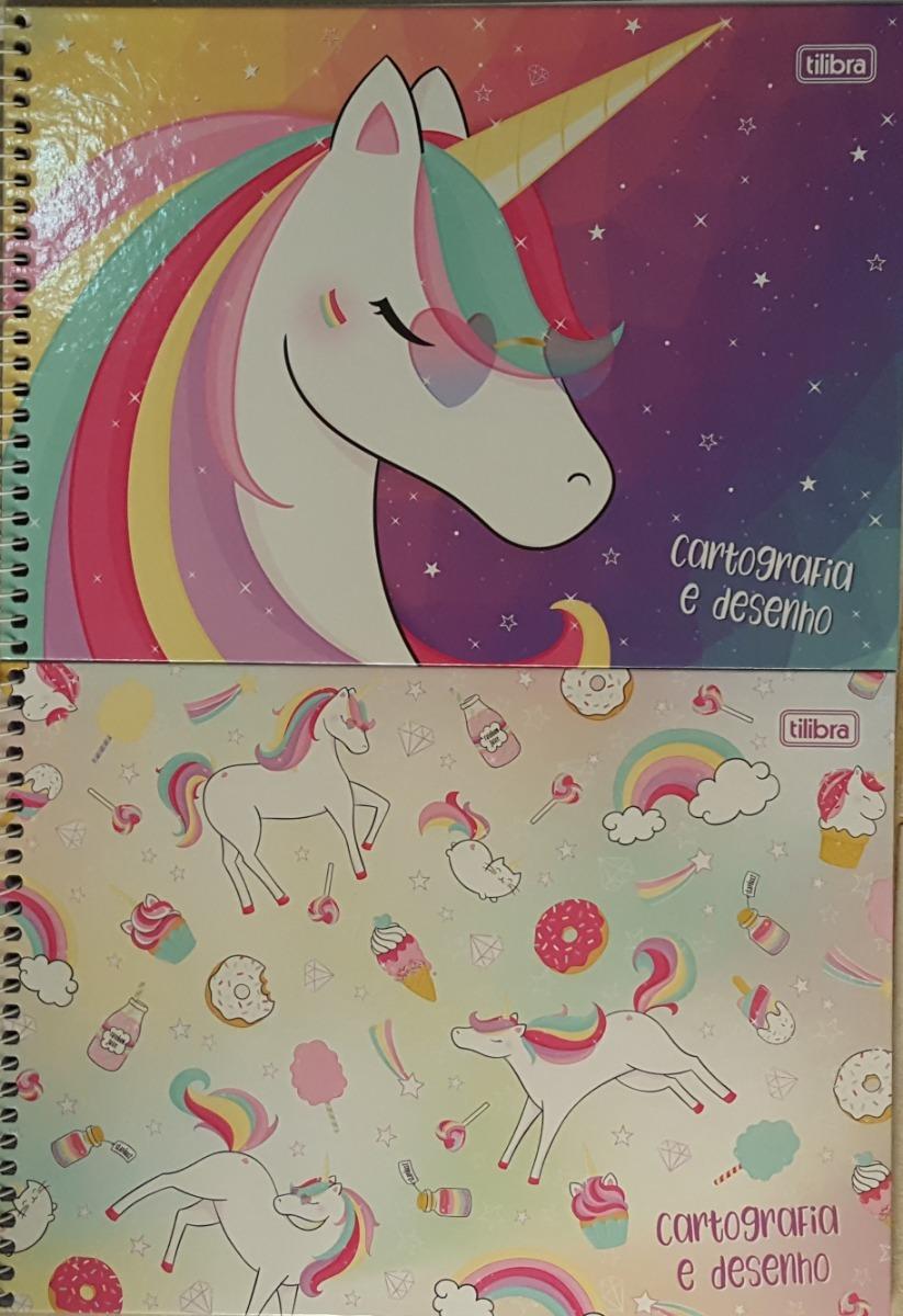 Caderno Unicórnio Desenho 80fls Capa Dura Kit Com 2