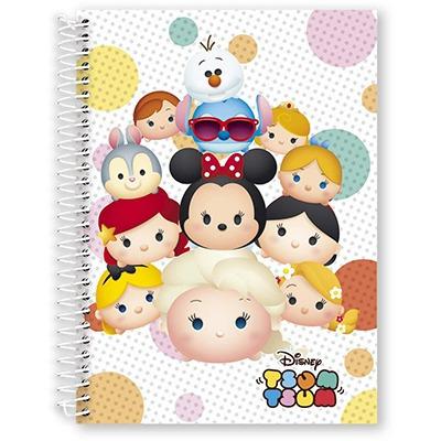 caderno universitário 1 matéria 96 folhas tsum tsum kit 4 un