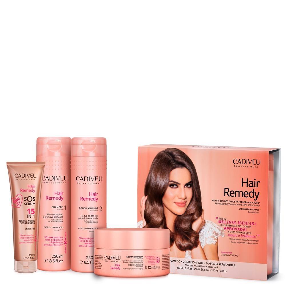 953058073 Cadiveu Hair Remedy Kit Home Care Sos Sérum 4 Produtos - R  128