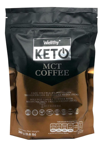 café keto mct coffee 360 grs café soluble con mct wellthy