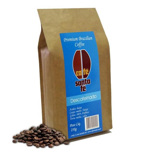 café santa fé descafeinado em grão/moído 250gr,