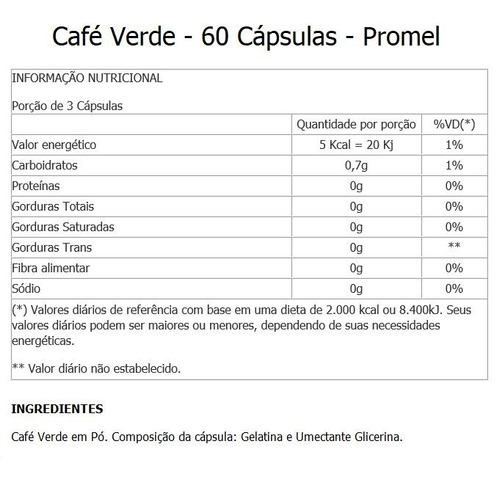 café verde  60 cápsulas  promel