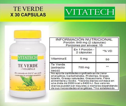 cafe verde x 60 cápsulas + te verde x 30 cápsulas vita tech ayundan a controlar el peso y el apetito