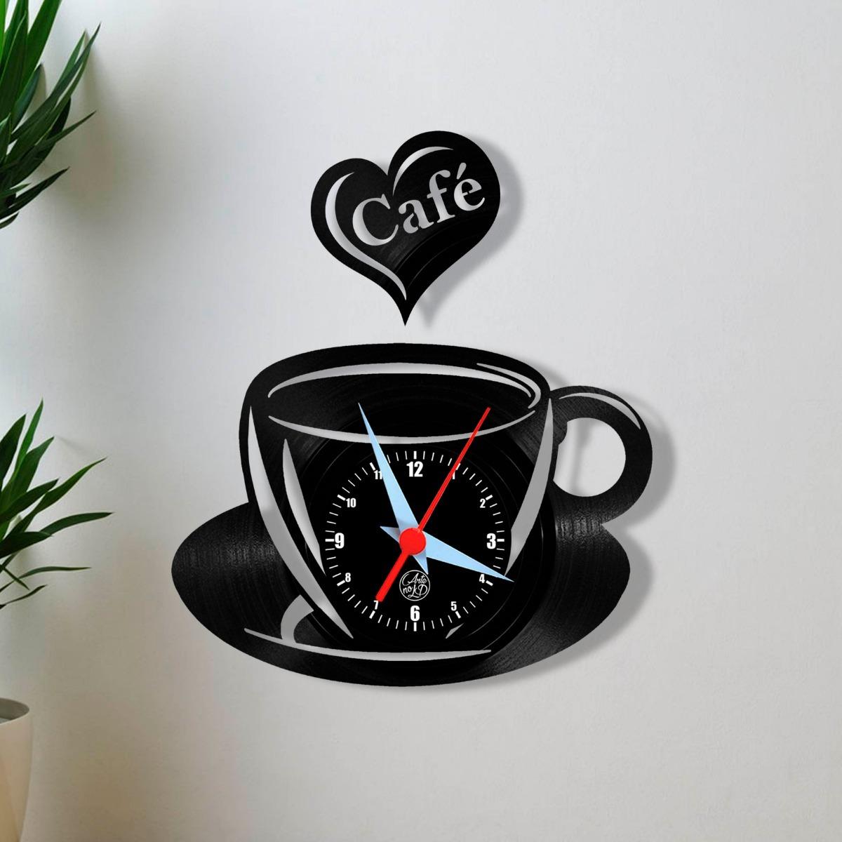 21b0fe73628 Café Xícara Bule Cozinha Relógio Parede Vinil Arte Disco Lp - R  59 ...