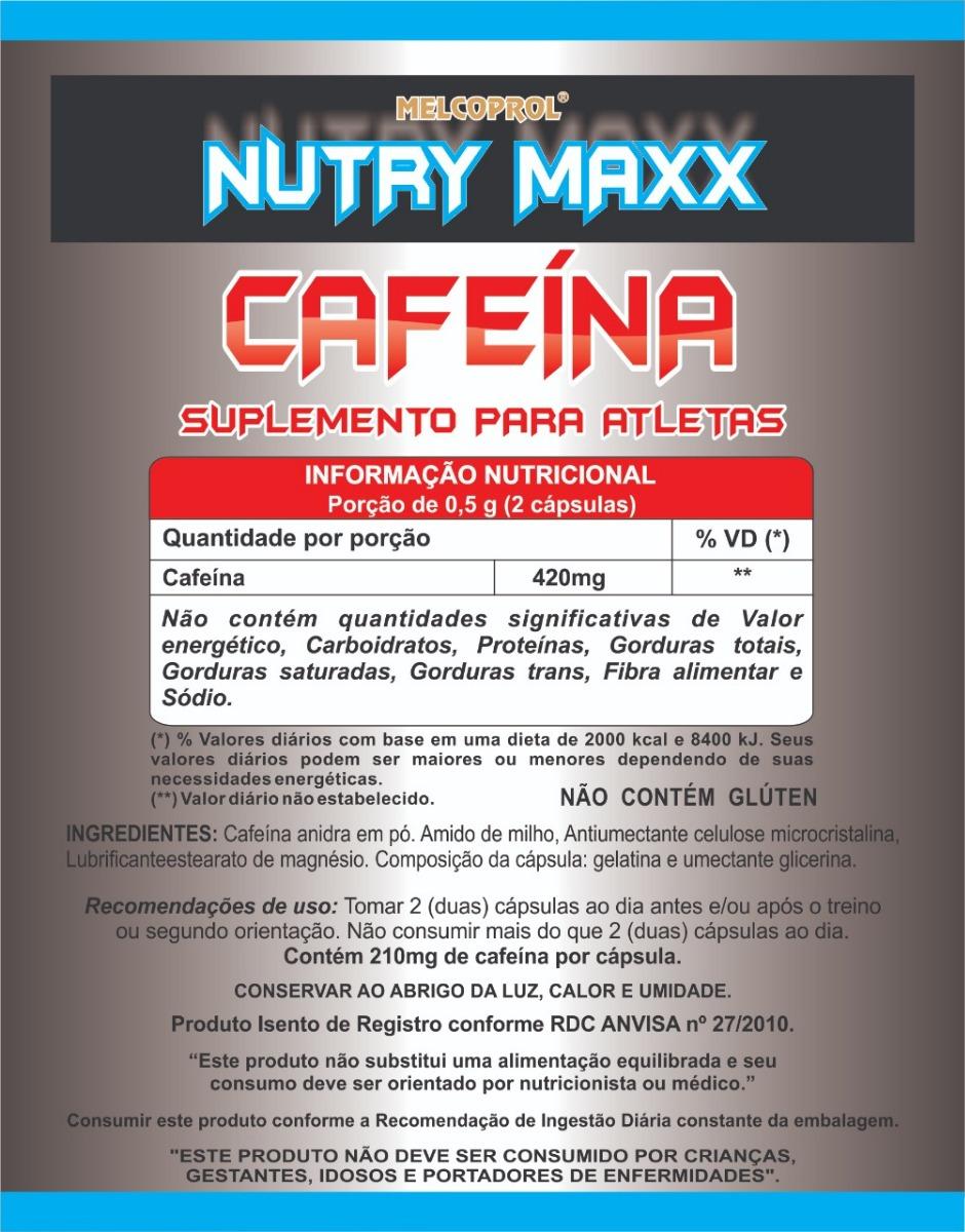 be01962c5e Cafeína 120cáps 420mg Por Porção Termogênico Queima Gordura - R  29 ...