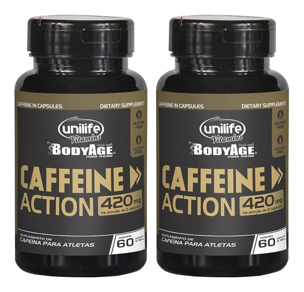 Cafeina Caffeine Action 60 Cápsulas 420mg Unilife Kit 2 Unidades