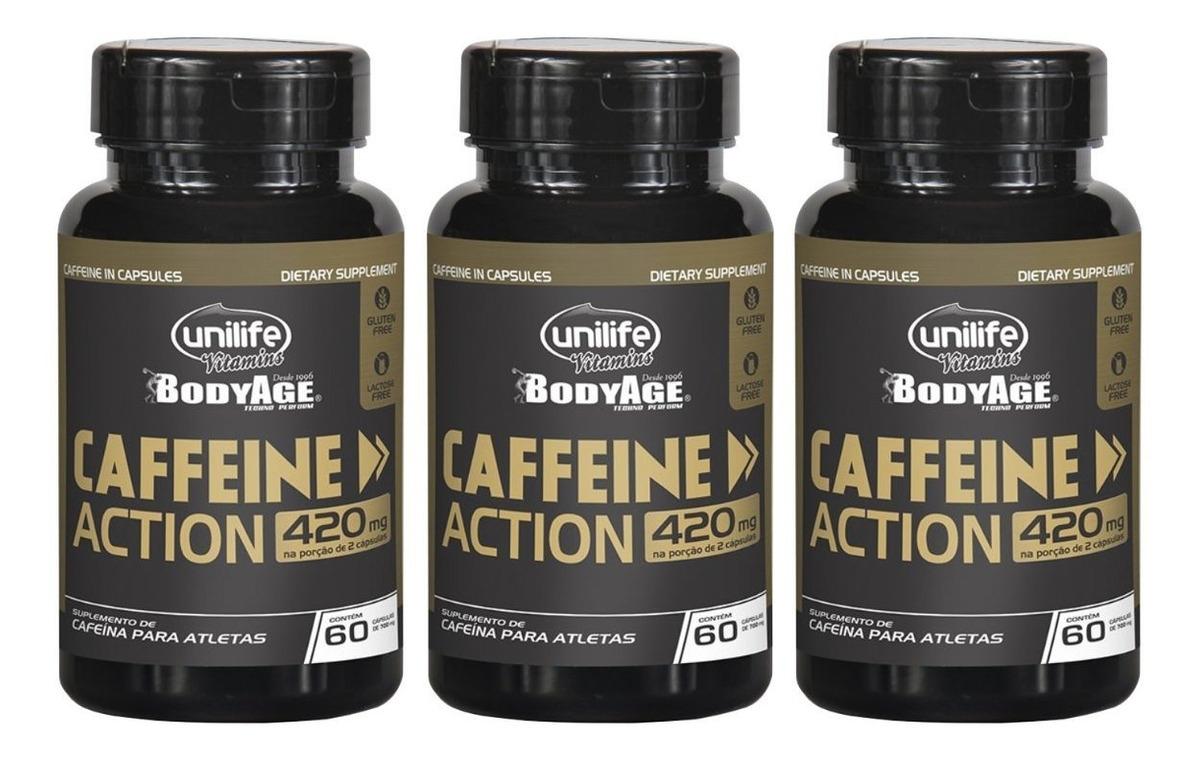Cafeina Caffeine Action 60 Cápsulas 420mg Unilife Kit 3 Unidades