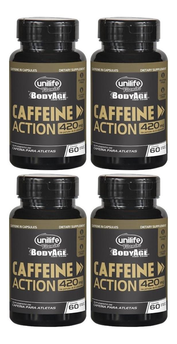 Cafeina Caffeine Action 60 Cápsulas 420mg Unilife Kit 4 Unidades