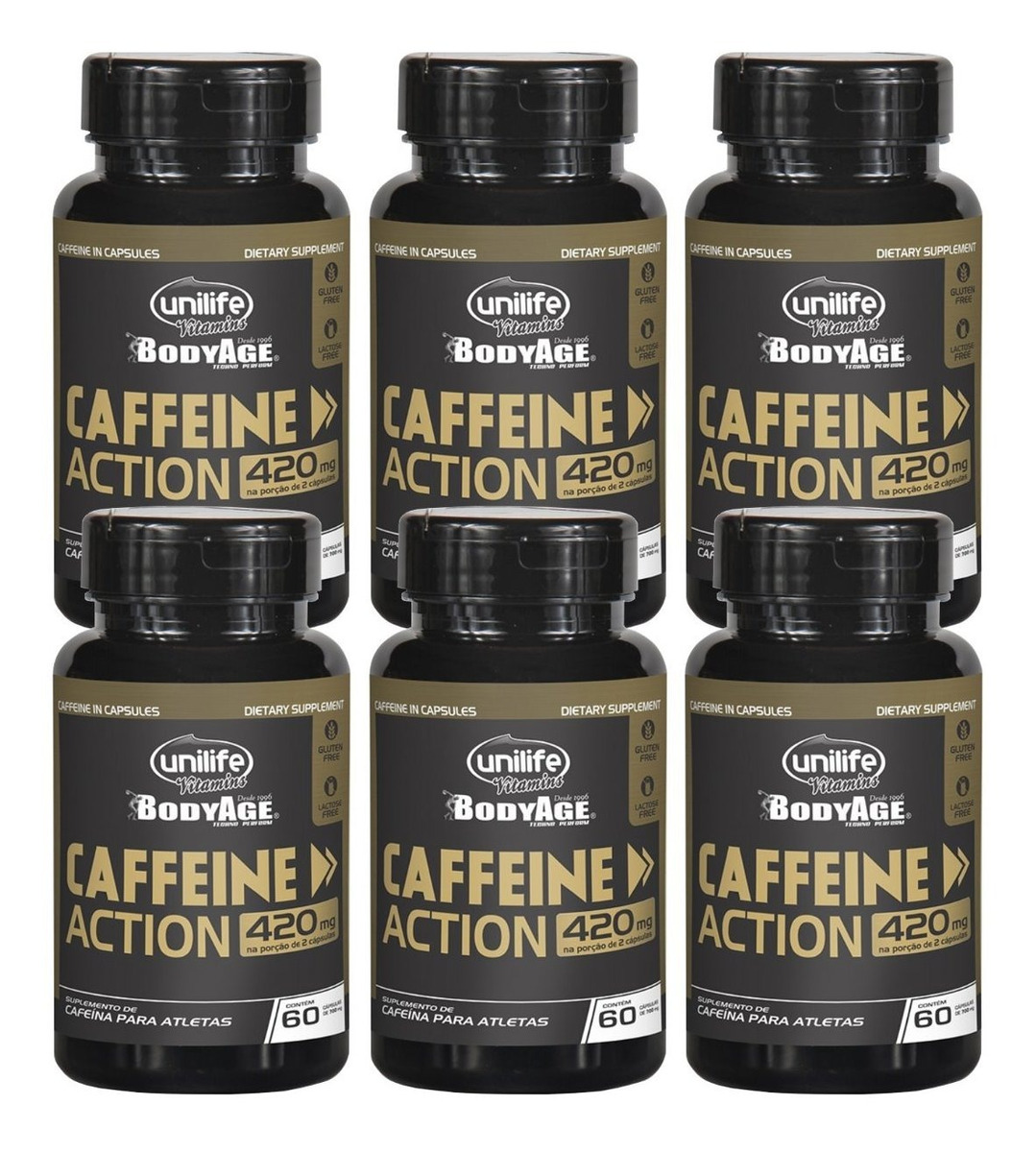 Cafeina Caffeine Action 60 Cápsulas 420mg Unilife Kit 6 Unidades