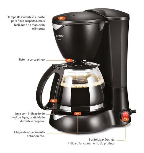 cafeteira elétrica 15 xícaras preta jarro de vidro 110/220v