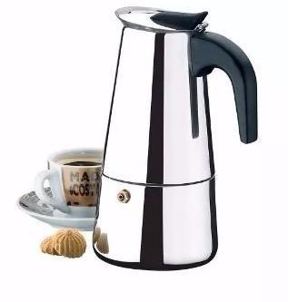 cafeteira expresso italiana 6 cafés xícaras aço inox
