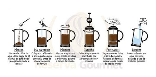 cafeteira francesa inox 1 litro cremeira bule prensa 1000ml