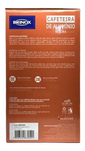 cafeteira italiana 300ml brinox aluminio inmetro