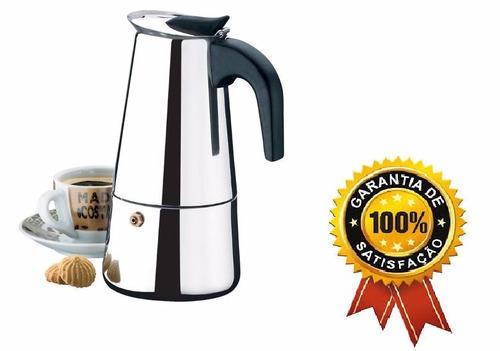 cafeteira  italiana 9 cafés aço inox promoção dias das mãe