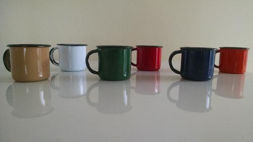 cafeteira retrô + 6 xícaras esmaltadas mãe ágata