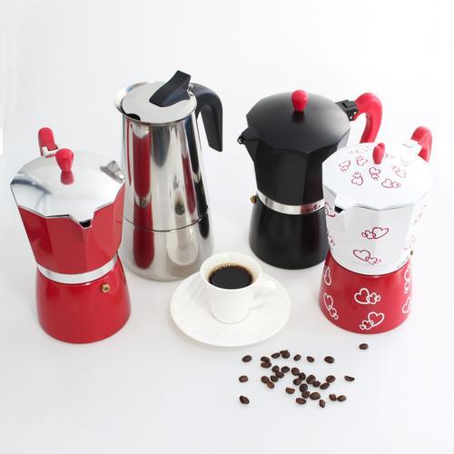 cafeteira tipo italiana alumínio 6 xícaras casita coracao