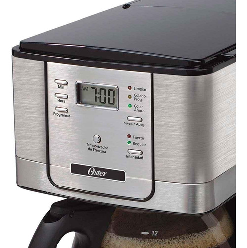 cafetera 12 tazas programable acero inox oster bvstdc4401
