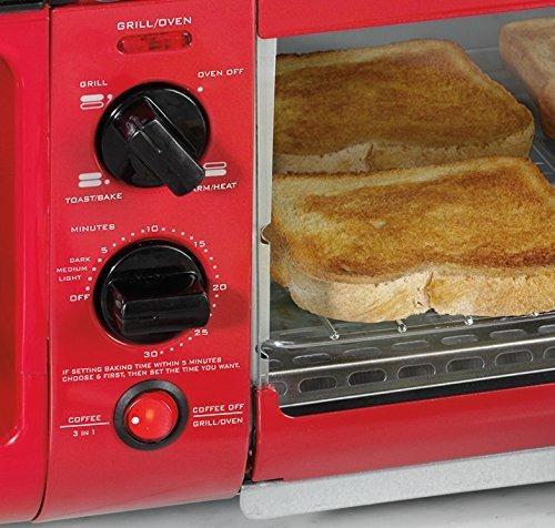 cafetera 3 in 1 tostador horno desayunador nostalgia rojo/ j
