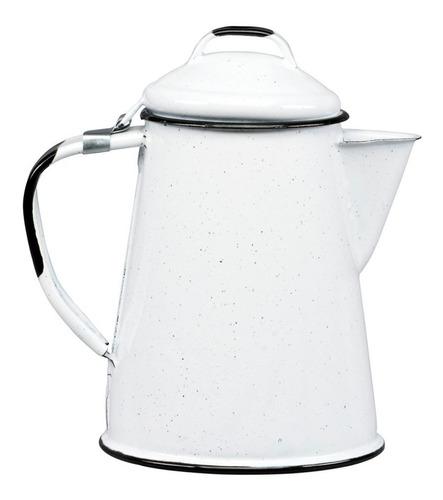 cafetera de peltre tradicional 2 litros color blanco