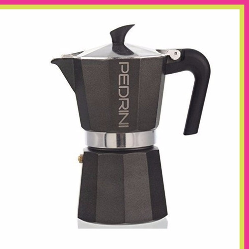 cafetera express pedrini aluminio italiana 6 pocillos negra