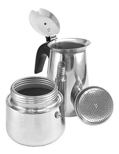 cafetera expresso de 6 tazas de acero inoxidable italiana br