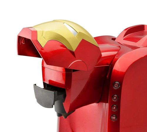 cafetera marvel de iron man color rojo y dorado café