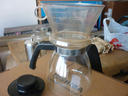 cafetera tipo colador de cafe de vidrio
