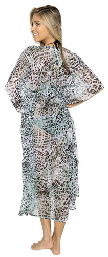 caftán kimono la leela de chifón largo color verde abstracto