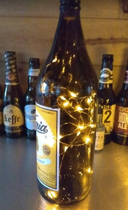 caguama botella cerveza mega corona victoria lampara led bar