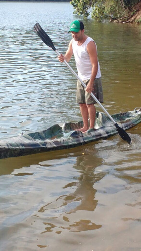caiaque k1 pesca aberto fibra 1 lugar camuflado+remo+colete