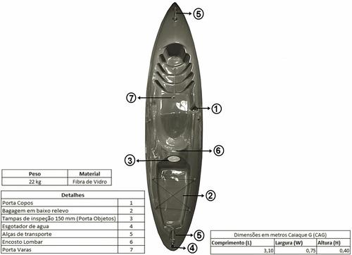 caiaque p1 p/ pesca 3,10 x 0,75 x 0,40 azaz cod:camazc
