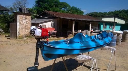 caiaque pesca com suporte p/ motor, porta objetos 1 pessoa