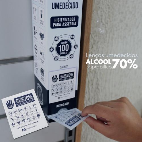 caixa 100 de lenço umedecido em algool 70% isopropilico