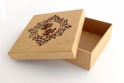 caixa 10x10x5 mdf crú casamento brasão aniversário festa