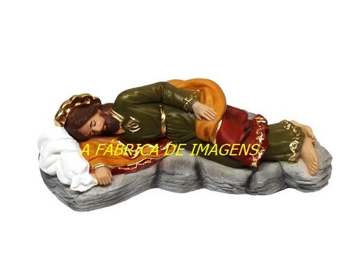 caixa 6 escultura são josé dormindo na pedra imagem 20cm ml