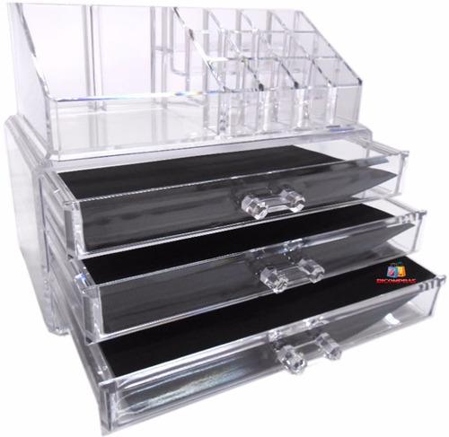 caixa acrílica organizador maquiagem jóias esmaltes batons